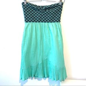 Volcom | strapless turquoise and blue beach dress